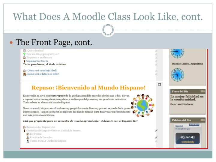 What Does A Moodle Class Look Like, cont.
