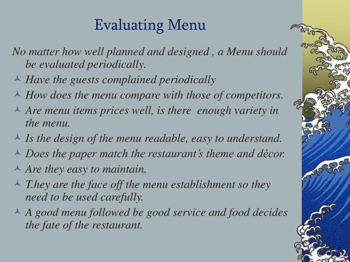 Evaluating Menu