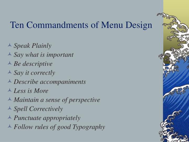 Ten commandments of menu design