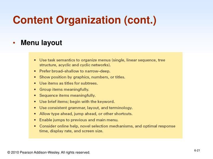 Content Organization (cont.)
