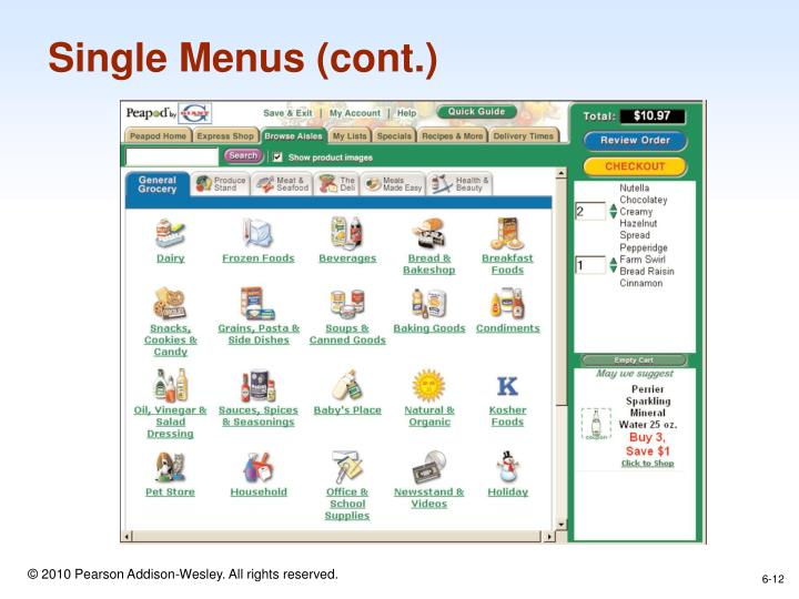 Single Menus (cont.)
