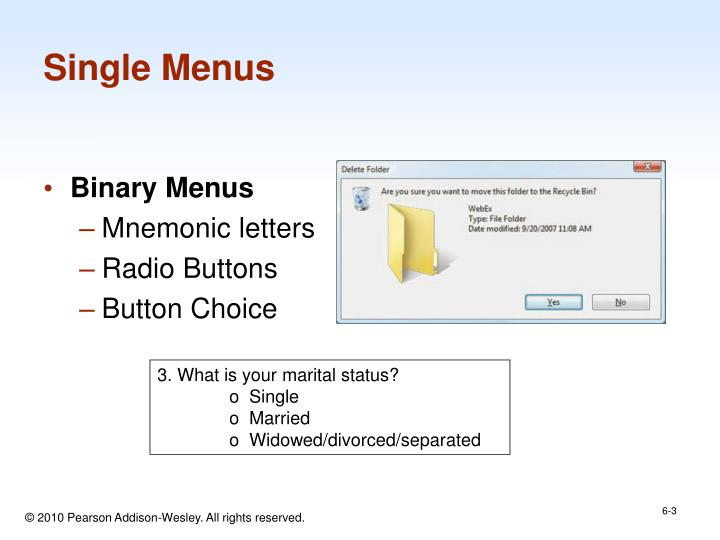Single menus