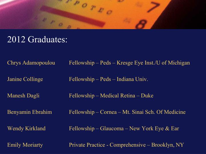 2012 Graduates: