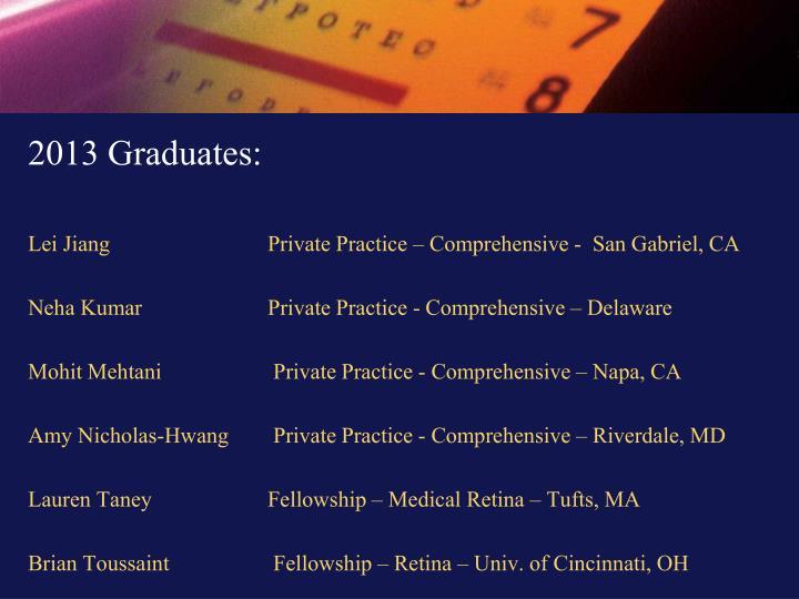 2013 Graduates: