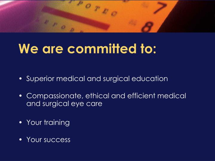 We are committed to: