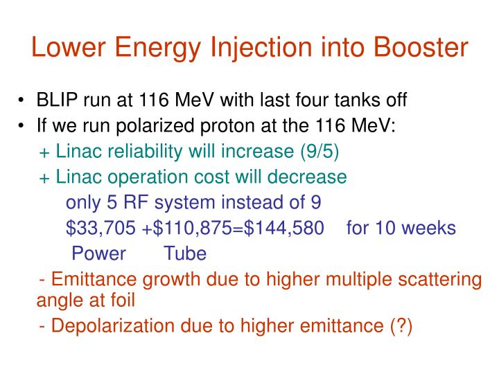 Lower Energy Injection into Booster