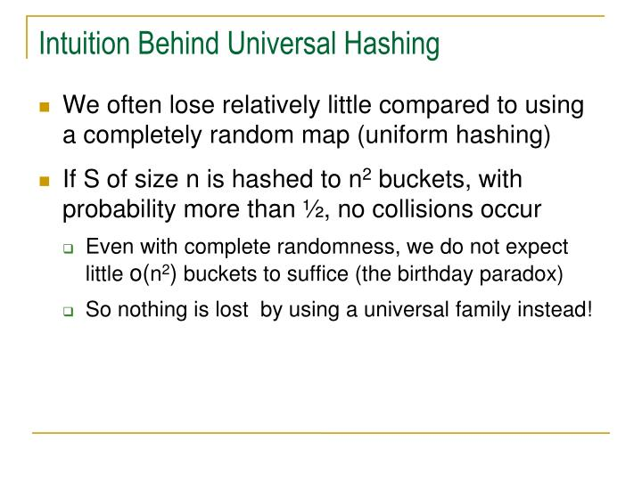 Intuition Behind Universal Hashing