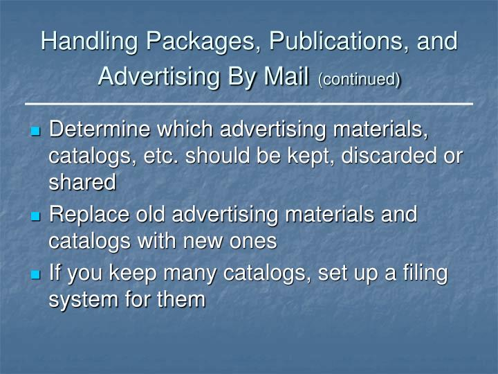 Handling Packages, Publications, and Advertising By Mail
