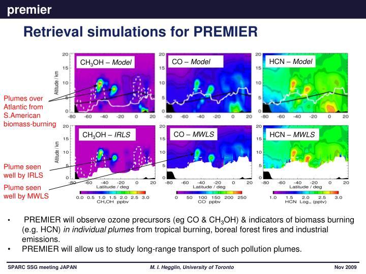 Retrieval simulations for PREMIER