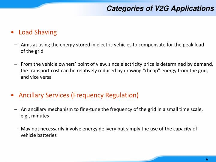 Categories of V2G Applications