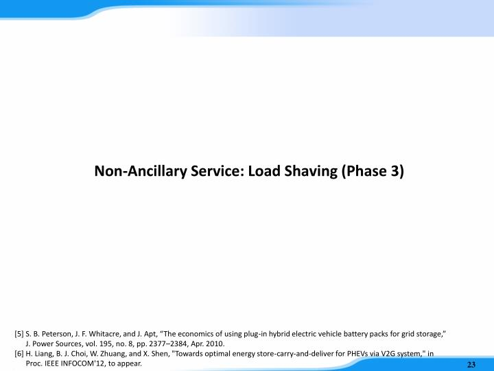 Non-Ancillary Service: Load Shaving (Phase 3)