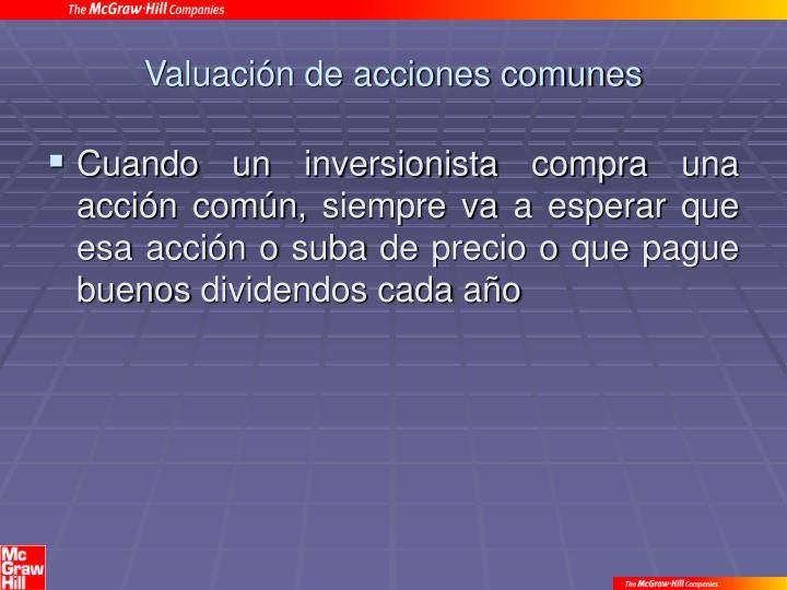 Valuación de acciones comunes