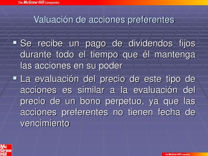 Valuación de acciones preferentes