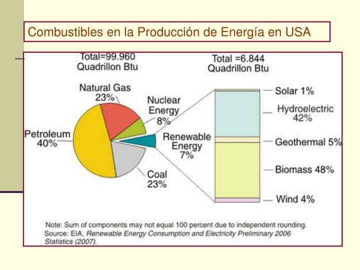 Combustibles en la Producción de Energía en USA