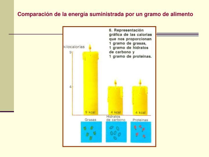 Comparación de la energía suministrada por un gramo de alimento