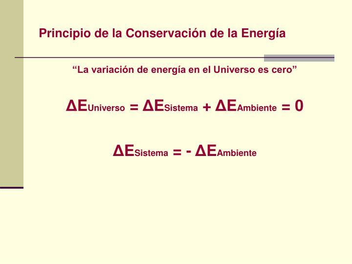 Principio de la Conservación de la Energía