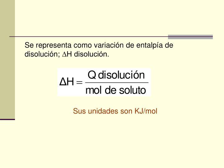 Se representa como variación de entalpía de disolución;