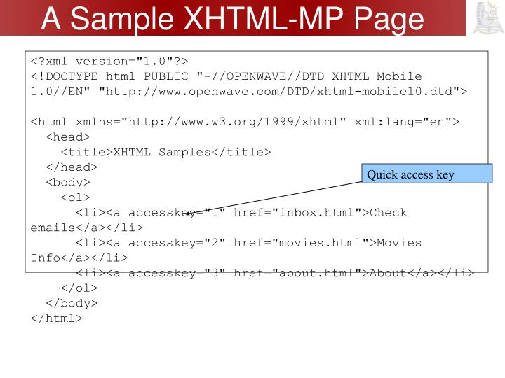 A Sample XHTML-MP Page