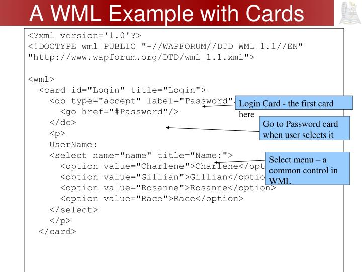 A WML Example with Cards