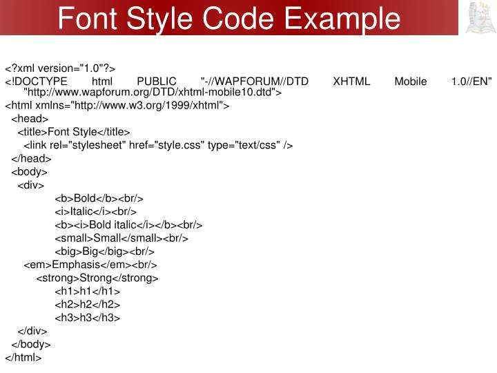 Font Style Code Example