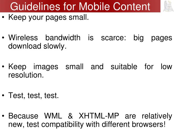 Guidelines for Mobile Content