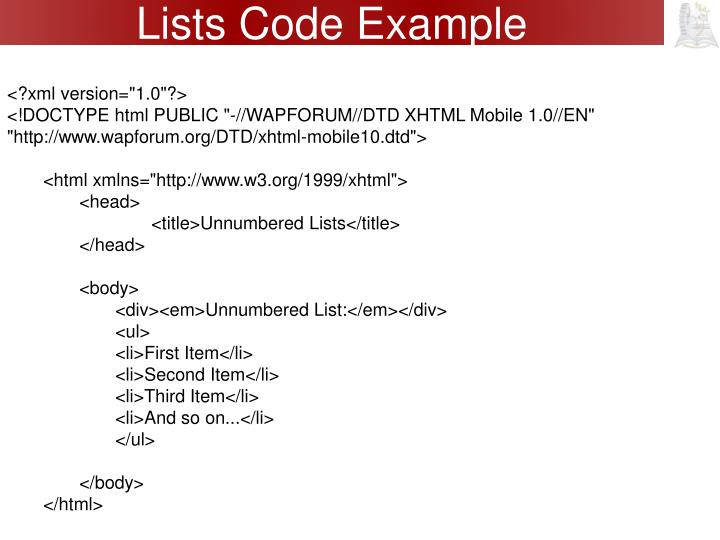 Lists Code Example