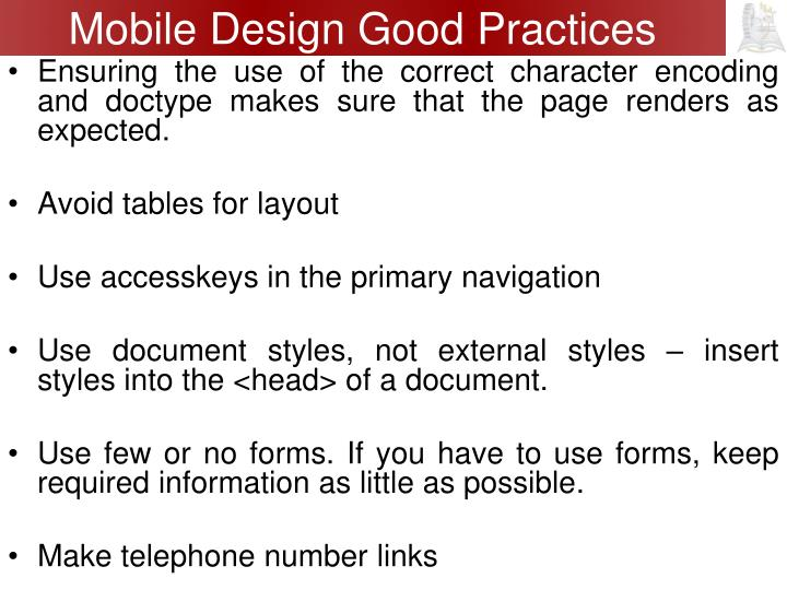 Mobile Design Good Practices