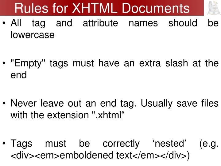 Rules for XHTML Documents