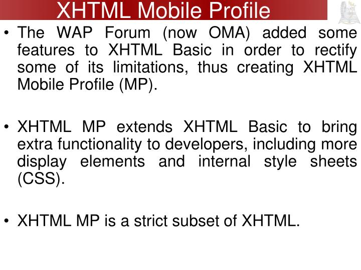 XHTML Mobile Profile
