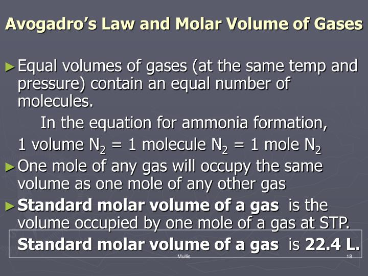 Avogadro's Law and Molar Volume of Gases