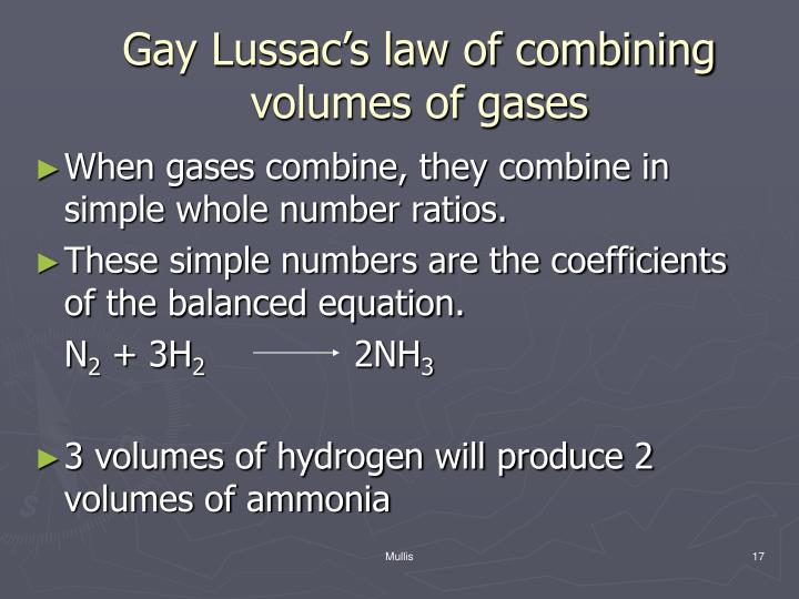 Gay Lussac's law of combining volumes of gases