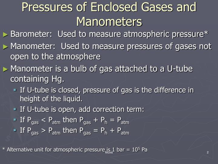 Pressures of enclosed gases and manometers