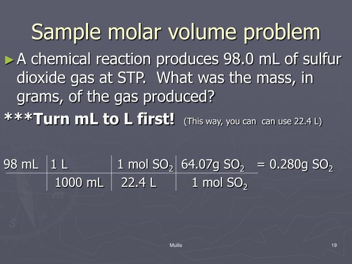 Sample molar volume problem