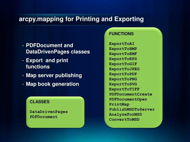 arcpy.mapping for Printing and Exporting