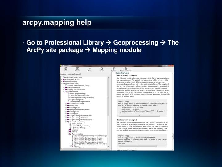 arcpy.mapping help
