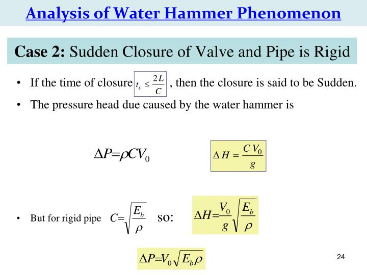 Analysis of Water Hammer Phenomenon