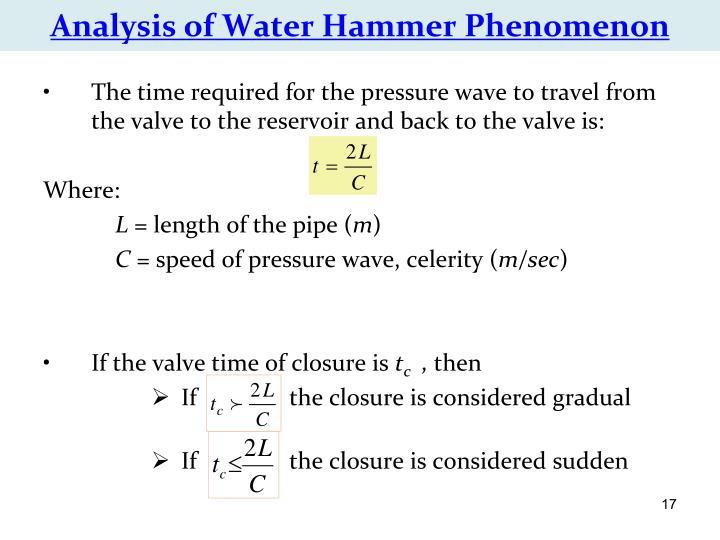 Analysis of Water Hammer Phenomenon