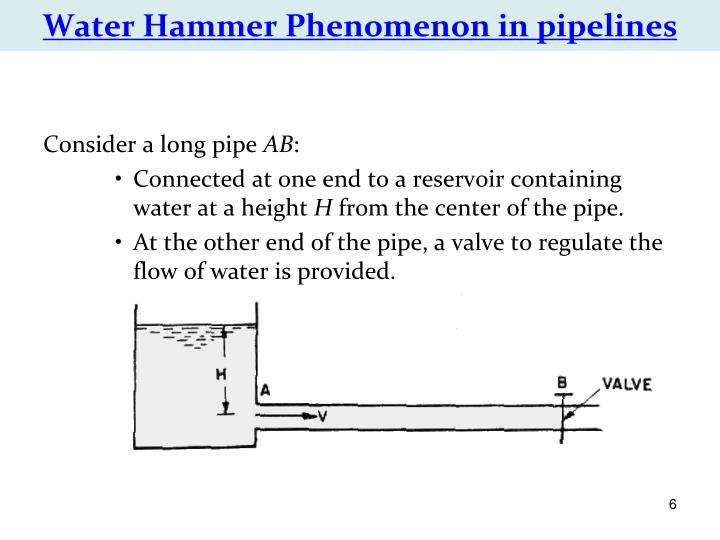 Water Hammer Phenomenon in pipelines