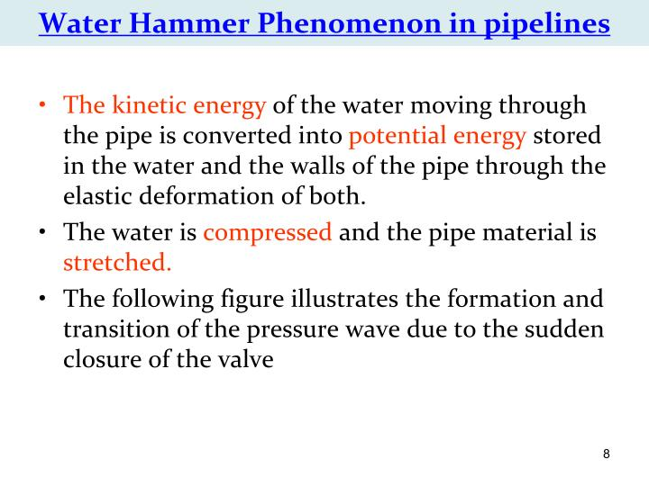 Water Hammer Phenomenon in pipelines