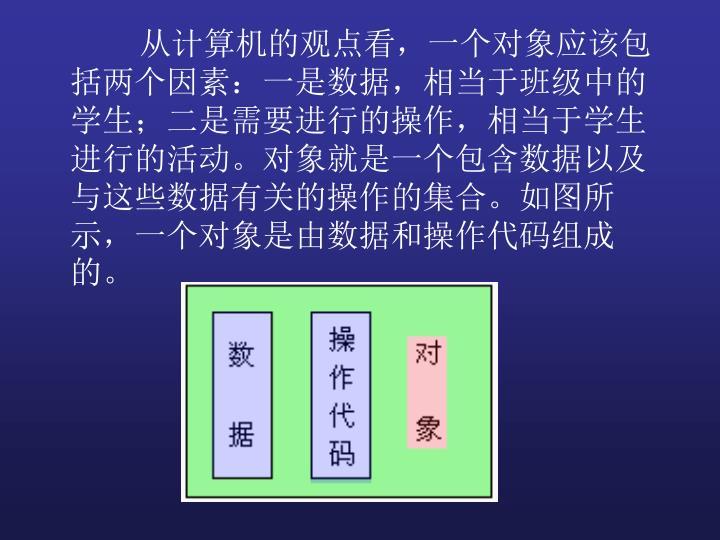 从计算机的观点看,一个对象应该包括两个因素:一是数据,相当于班级中的学生;二是需要进行的操作,相当于学生进行的活动。对象就是一个包含数据以及与这些数据有关的操作的集合。如图所示,一个对象是由数据和操作代码组成的。