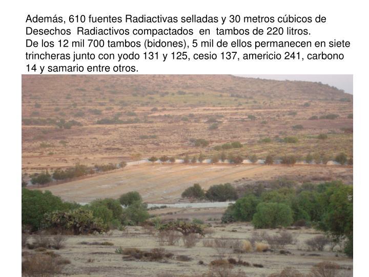 Adems, 610 fuentes Radiactivas selladas y 30 metros cbicos de Desechos  Radiactivos compactados  en  tambos de 220 litros.