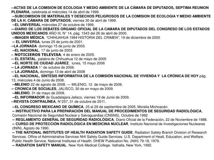 --ACTAS DE LA COMISION DE ECOLOGIA Y MEDIO AMBIENTE DE LA CMARA DE DIPUTADOS, SEPTIMA REUNION PLENARIA