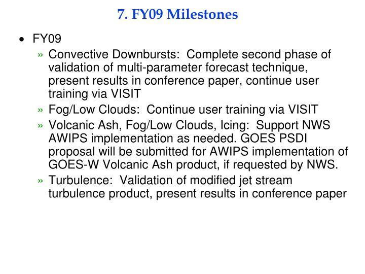 7. FY09 Milestones