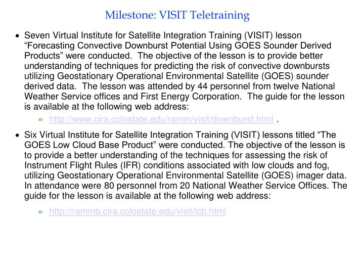 Milestone: VISIT Teletraining