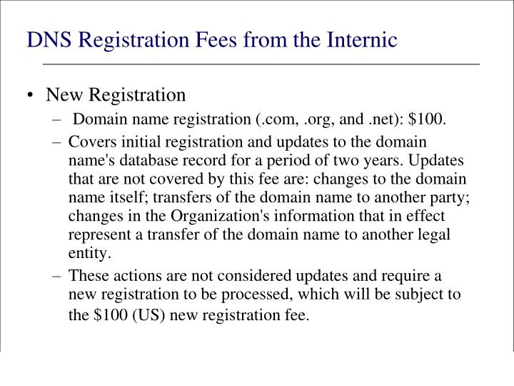 DNS Registration Fees from the Internic
