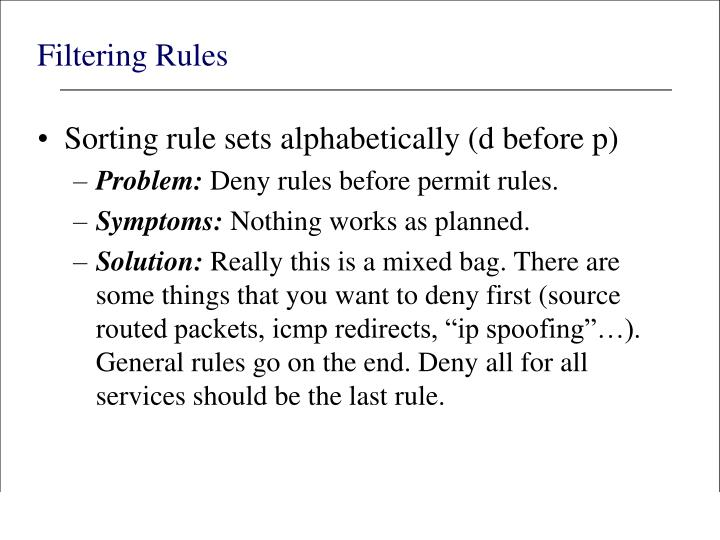 Filtering Rules