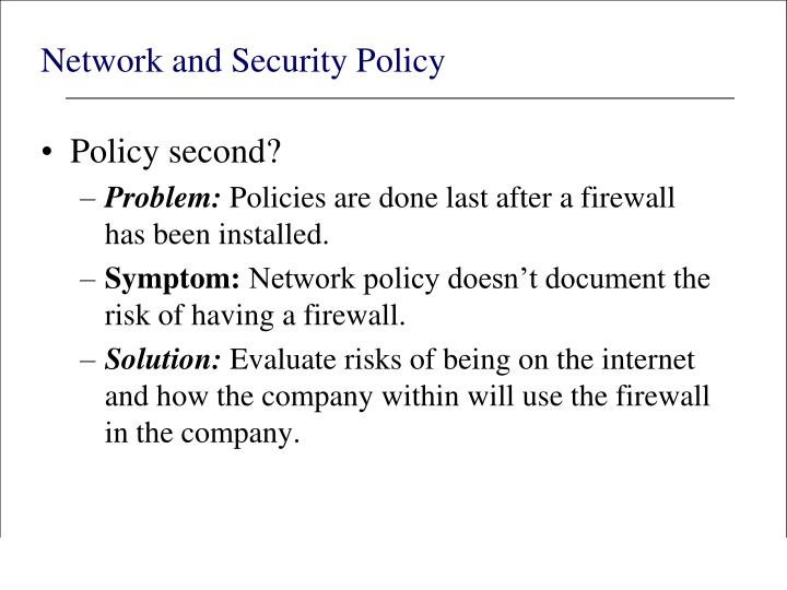 Network and Security Policy