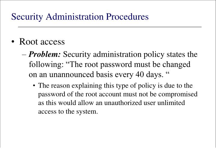 Security Administration Procedures