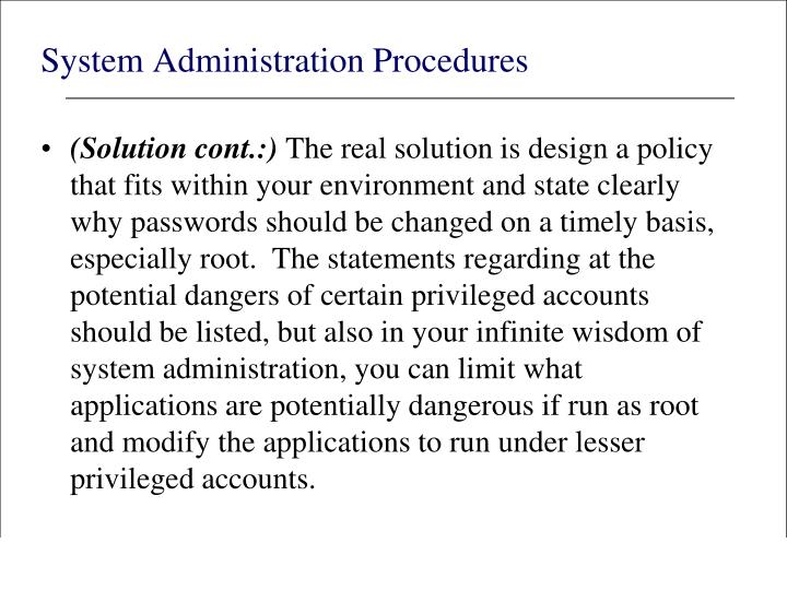 System Administration Procedures