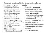 required functionality for document exchange